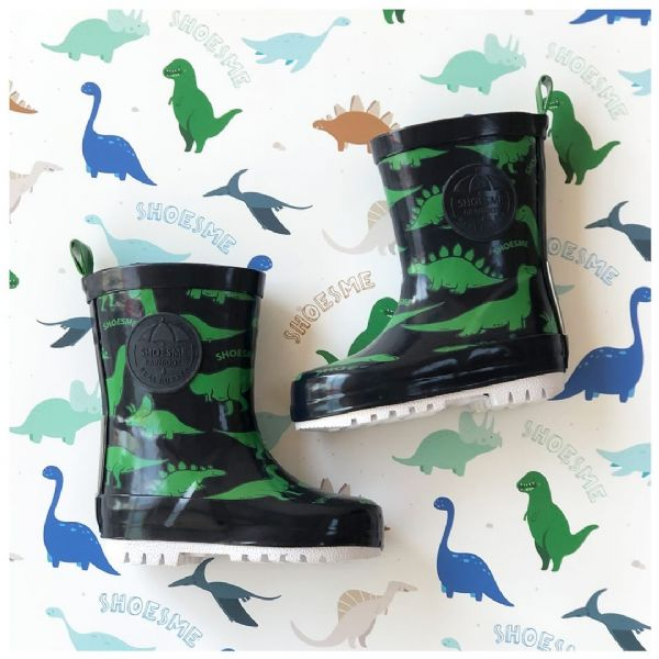 ShoesMe WELLIES with fleece sock (Blue Dinosaur)